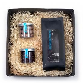 Geschenkpaket Espresso Süßigkeiten Latte-Macchiato-Mandeln Zartbitter-Kaffeebohnen